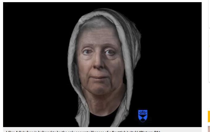 18世紀魔女の顔を頭蓋骨から復元