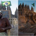 ブラジルのビーチで砂の城に暮らす王様