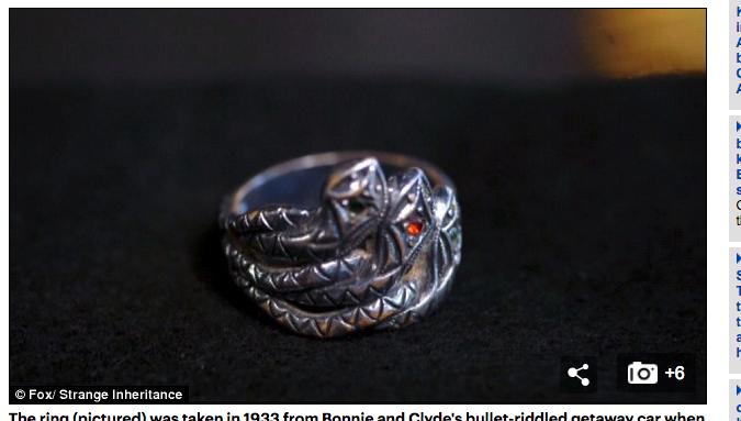 ボニーとクライドの結婚指輪に高額査定