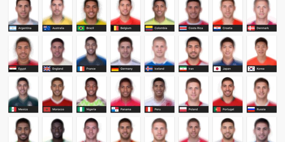 イケメン選手を探せワールドカップ各国代表を合成した平均顔まとめ