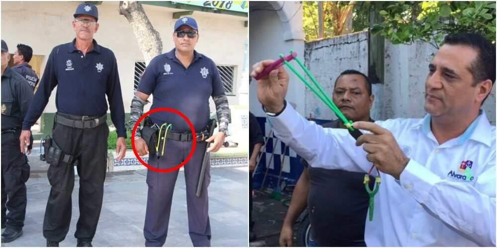 犯罪大国メキシコの警察官がパチンコで治安を守る
