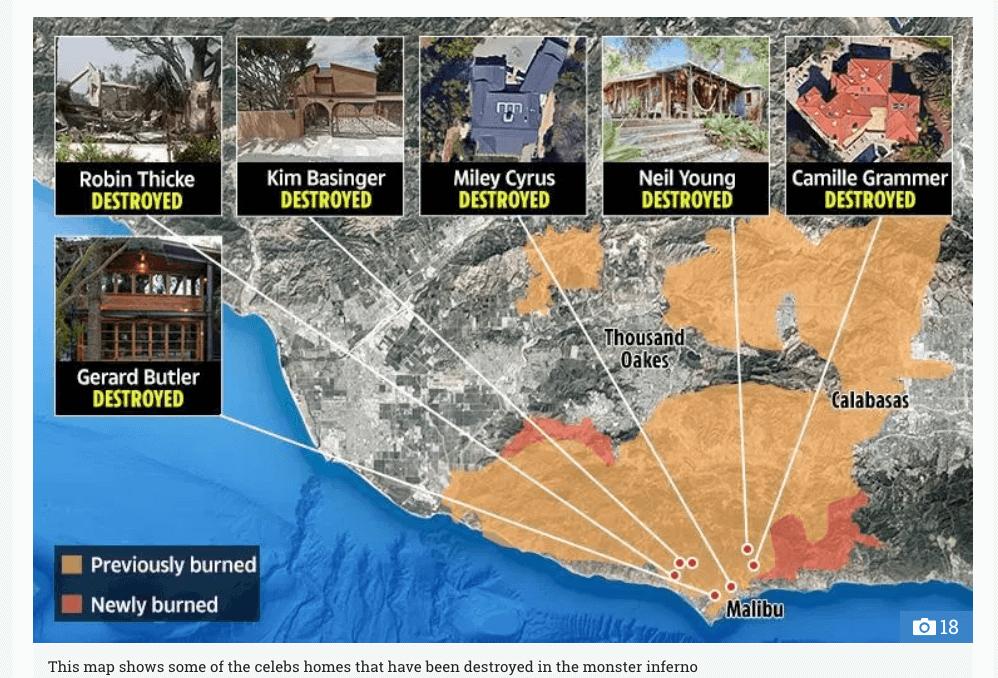 カリフォルニアの山火事で有名人の豪邸が続々被害