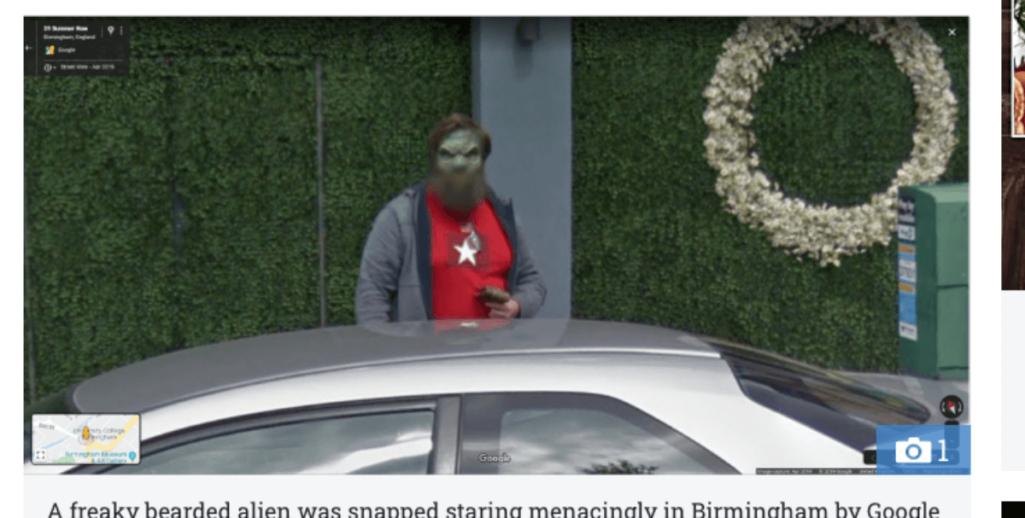 Googleストリートビューに異色肌の宇宙人