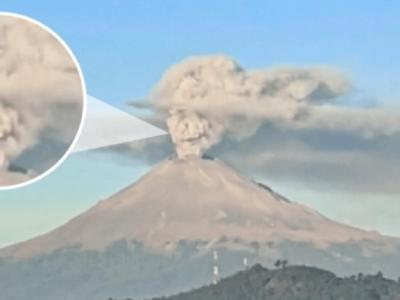 メキシコの富士山爆発でドクロの噴煙が出現
