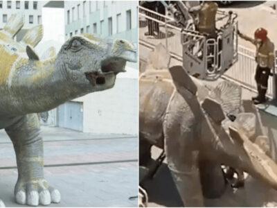 恐竜の中から遺体を発見