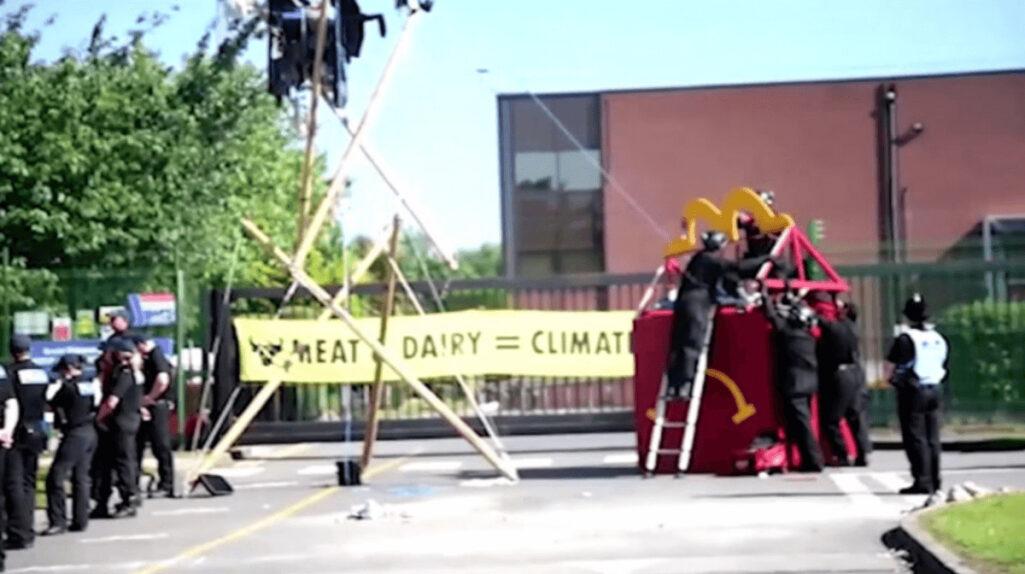 巨大なハッピーセットの箱でマクドナルドに抗議活動