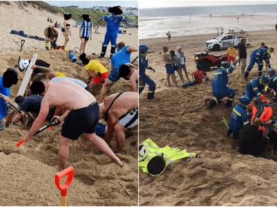 砂浜落とし穴ドッキリで生き埋め事件