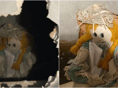 壁の中に封印された呪いの人形を発見